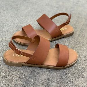 Weeboo Shoes - Weeboo Tan Double Strap Lining Ankle Strap Sandal